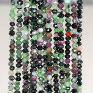 Shop Ruby Zoisite Faceted Beads! 4x3mm Ruby Zoisite Gemstone Grade A Faceted Rondelle 4x3mm Loose Beads 16 inch Full Strand (90191941-341) | Natural genuine faceted Ruby Zoisite beads for beading and jewelry making.  #jewelry #beads #beadedjewelry #diyjewelry #jewelrymaking #beadstore #beading #affiliate #ad