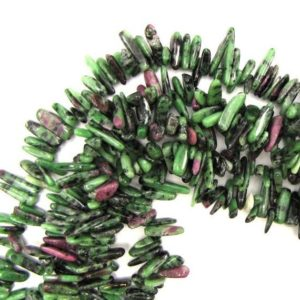 "12mm – 24mm natural ruby zoisite stick tooth spike beads 15"" strand 