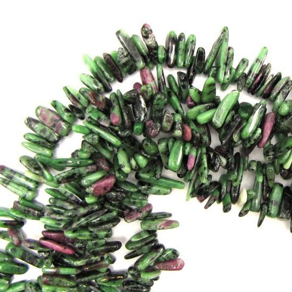 """12mm - 24mm Natural Ruby Zoisite Stick Tooth Spike Beads 15"""" Strand"""