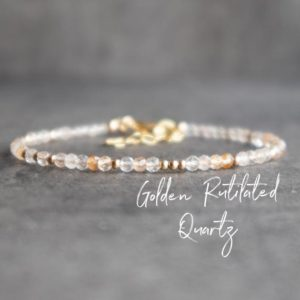 Shop Rutilated Quartz Jewelry! Gold Rutilated Quartz Bracelet, Golden Quartz Bracelet, Skinny Gemstone Bracelet, Beaded Bracelet, Stacking Bracelet, Gift for Her | Natural genuine Rutilated Quartz jewelry. Buy crystal jewelry, handmade handcrafted artisan jewelry for women.  Unique handmade gift ideas. #jewelry #beadedjewelry #beadedjewelry #gift #shopping #handmadejewelry #fashion #style #product #jewelry #affiliate #ad