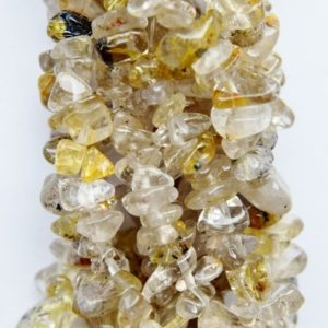 Shop Rutilated Quartz Chip & Nugget Beads! Genuine Golden Rutilated Quartz Chips, size beads approx. 7-8 mm, long strand (36 inch). | Natural genuine chip Rutilated Quartz beads for beading and jewelry making.  #jewelry #beads #beadedjewelry #diyjewelry #jewelrymaking #beadstore #beading #affiliate #ad