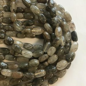 Shop Rutilated Quartz Chip & Nugget Beads! Green Rutilated Quartz 15x10mm Nugget Natural Gemstone Bead–15 inch strand- | Natural genuine chip Rutilated Quartz beads for beading and jewelry making.  #jewelry #beads #beadedjewelry #diyjewelry #jewelrymaking #beadstore #beading #affiliate #ad