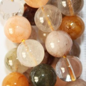 "Genuine Rutilated Quartz Mix Multi Color beads 10 mm – Gemstone Beads – Full Strand 15 1/2"", 37 beads, A-Quality 