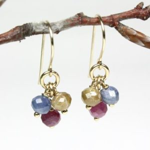 Shop Sapphire Earrings! Sapphire Gold Filled Earrings red blue yellow genuine natural gemstone boho dangle drop clusters September birthstone gift for her 5805   Natural genuine Sapphire earrings. Buy crystal jewelry, handmade handcrafted artisan jewelry for women.  Unique handmade gift ideas. #jewelry #beadedearrings #beadedjewelry #gift #shopping #handmadejewelry #fashion #style #product #earrings #affiliate #ad