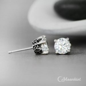 White Sapphire Stud Earrings, Sterling Silver White Gemstone Studs, Bridesmaid Earrings | Moonkist Designs | Natural genuine Gemstone earrings. Buy crystal jewelry, handmade handcrafted artisan jewelry for women.  Unique handmade gift ideas. #jewelry #beadedearrings #beadedjewelry #gift #shopping #handmadejewelry #fashion #style #product #earrings #affiliate #ad