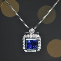 Natural Sapphire And Diamond Pendant In 14k Gold | Solid 14k Gold | Fine Jewelry | Free Shipping | Natural genuine Gemstone jewelry. Buy crystal jewelry, handmade handcrafted artisan jewelry for women.  Unique handmade gift ideas. #jewelry #beadedjewelry #beadedjewelry #gift #shopping #handmadejewelry #fashion #style #product #jewelry #affiliate #ad