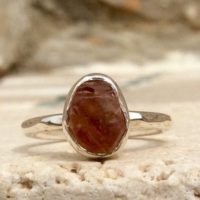 Raw Stone Ring, Peach Sapphire Silver Ring, Rough Natural Gemstone, Peach Stone Ring | Natural genuine Gemstone jewelry. Buy crystal jewelry, handmade handcrafted artisan jewelry for women.  Unique handmade gift ideas. #jewelry #beadedjewelry #beadedjewelry #gift #shopping #handmadejewelry #fashion #style #product #jewelry #affiliate #ad