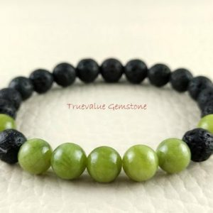 Shop Serpentine Bracelets! Green Serpentine And Black Lava Bracelet, Beaded Bracelet, Healing for Men & Women, Longevity, Protection, Calm, Gift for Mom And Women 3923 | Natural genuine Serpentine bracelets. Buy handcrafted artisan men's jewelry, gifts for men.  Unique handmade mens fashion accessories. #jewelry #beadedbracelets #beadedjewelry #shopping #gift #handmadejewelry #bracelets #affiliate #ad