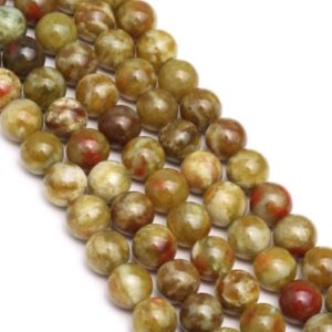 "Shop Serpentine Round Beads! Russian Blood Serpentine Jade Smooth Round Beads 4mm 6mm 8mm 10mm 12mm 15.5""Strd 