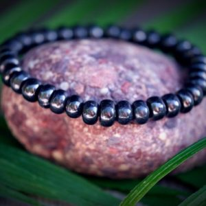 SHUNGITE EMF 5G PROTECTION Genuine Shungite Standard Size 8.5mm Smooth Rondelle Silver Healing Protective Mens Unisex Bracelet | Natural genuine Array bracelets. Buy handcrafted artisan men's jewelry, gifts for men.  Unique handmade mens fashion accessories. #jewelry #beadedbracelets #beadedjewelry #shopping #gift #handmadejewelry #bracelets #affiliate #ad
