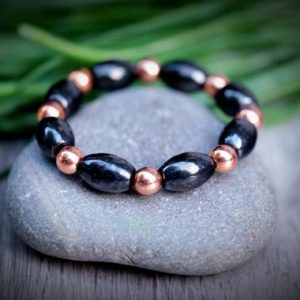 Multi Gemstone Custom SHUNGITE + Copper EMF Protection Powerful Duo 8mm Barrel Bracelet Customizable Choose Gemstone, Color, Chakra Rainbow | Natural genuine Array bracelets. Buy crystal jewelry, handmade handcrafted artisan jewelry for women.  Unique handmade gift ideas. #jewelry #beadedbracelets #beadedjewelry #gift #shopping #handmadejewelry #fashion #style #product #bracelets #affiliate #ad