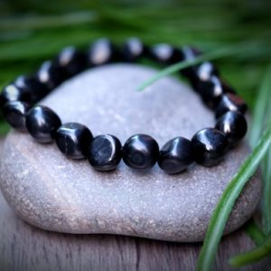 SHUNGITE Pebble 5G Protection Russian Shungite Standard Size 8-11mm Tumble Square Small Nugget Black Shungite Bracelet | Natural genuine Array bracelets. Buy crystal jewelry, handmade handcrafted artisan jewelry for women.  Unique handmade gift ideas. #jewelry #beadedbracelets #beadedjewelry #gift #shopping #handmadejewelry #fashion #style #product #bracelets #affiliate #ad