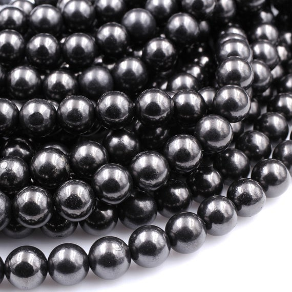 """Genuine Natural Shungite 4mm 6mm 8mm 10mm 12mm Round Beads High Quality Black Lustrous Gemstone From Russia 15.5"""" Strand"""