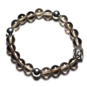 Gemstone – 8mm smoky Quartz and Buddha bracelet | Natural genuine Gemstone bracelets. Buy crystal jewelry, handmade handcrafted artisan jewelry for women.  Unique handmade gift ideas. #jewelry #beadedbracelets #beadedjewelry #gift #shopping #handmadejewelry #fashion #style #product #bracelets #affiliate #ad