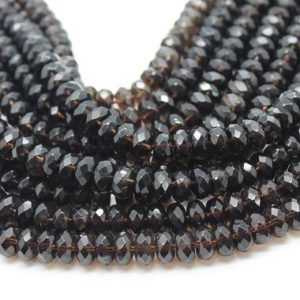 "Shop Smoky Quartz Faceted Beads! Faceted gemstone beads,faceted rondelles beads,smoky quartz beads,beading supplies jewelry making diy – 16"" Full Strand 