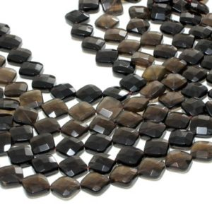 """Shop Smoky Quartz Faceted Beads! GU-1000 – Natural Smoky Quartz Faceted Squares – 18x18mm – Gemstone Beads – 16"""" Full Strand   Natural genuine faceted Smoky Quartz beads for beading and jewelry making.  #jewelry #beads #beadedjewelry #diyjewelry #jewelrymaking #beadstore #beading #affiliate #ad"""