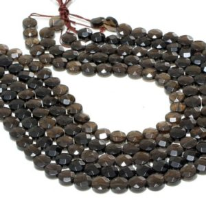 "Shop Smoky Quartz Faceted Beads! GU-3944-1 – Natural Smoky Quartz Faceted Coins – 10mm – Gemstone Beads – 16"" Full Strand 