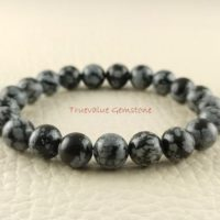 Snowflake Obsidian Bracelet, Healing For Men & Women, Metamorphoses, Soothing, Manifestation, Psychic Ability, Gift For Men And Women 3203 | Natural genuine Gemstone jewelry. Buy handcrafted artisan men's jewelry, gifts for men.  Unique handmade mens fashion accessories. #jewelry #beadedjewelry #beadedjewelry #shopping #gift #handmadejewelry #jewelry #affiliate #ad