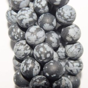 """Shop Snowflake Obsidian Round Beads! Natural Matte Snowflake Obsidian Beads – Round 8 mm Gemstone Beads – Full Strand 15 1/2"""", 46 beads, A+ Quality   Natural genuine round Snowflake Obsidian beads for beading and jewelry making.  #jewelry #beads #beadedjewelry #diyjewelry #jewelrymaking #beadstore #beading #affiliate #ad"""