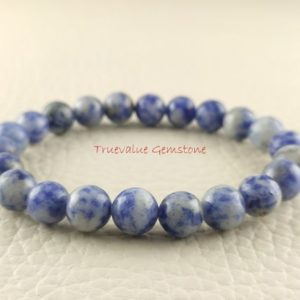 Shop Sodalite Bracelets! Sodalite Bracelet, Healing for Men & Women, Intuition, Clarity, Truth, Perception, Encourages Rational Thought, Gift for Men And Women 3262 | Natural genuine Sodalite bracelets. Buy handcrafted artisan men's jewelry, gifts for men.  Unique handmade mens fashion accessories. #jewelry #beadedbracelets #beadedjewelry #shopping #gift #handmadejewelry #bracelets #affiliate #ad