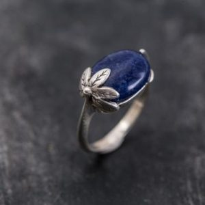 Shop Sodalite Jewelry! Sodalite Leaf Ring, Sodalite Ring, Natural Sodalite, Blue Ring, Vintage Blue Ring, Blue Sodalite, Leaf Ring, Solid Silver Ring, Sodalite | Natural genuine Sodalite jewelry. Buy crystal jewelry, handmade handcrafted artisan jewelry for women.  Unique handmade gift ideas. #jewelry #beadedjewelry #beadedjewelry #gift #shopping #handmadejewelry #fashion #style #product #jewelry #affiliate #ad