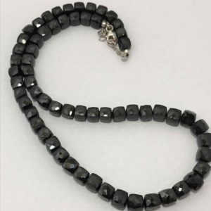 6.5 – 7.5 mm Black Spinel Faceted Box Gemstone Beads Necklace Sale / Spinel Necklace / Faceted Cube Beads / Spinel Gemstone Wholesale | Natural genuine other-shape Gemstone beads for beading and jewelry making.  #jewelry #beads #beadedjewelry #diyjewelry #jewelrymaking #beadstore #beading #affiliate #ad