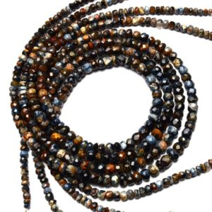 Shop Pietersite Beads! Super Rare Natural Gemstone Pietersite 4 to 6MM Size Faceted Rondelle Beads Necklace 17.5 Inch Full Strand Mined from Namibia | Natural genuine faceted Pietersite beads for beading and jewelry making.  #jewelry #beads #beadedjewelry #diyjewelry #jewelrymaking #beadstore #beading #affiliate #ad