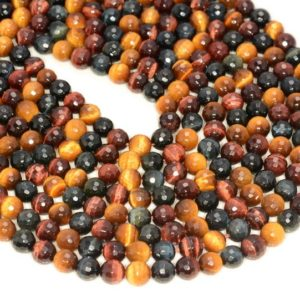 Shop Tiger Eye Faceted Beads! 6mm Multi Color Tiger Eye Gemstone Grade AAA Faceted Round Loose Beads 15.5 inch Full Strand (80005648-472) | Natural genuine faceted Tiger Eye beads for beading and jewelry making.  #jewelry #beads #beadedjewelry #diyjewelry #jewelrymaking #beadstore #beading #affiliate #ad