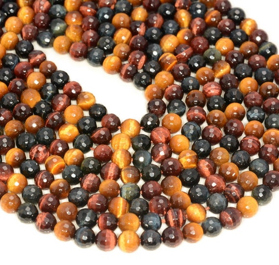6mm Multi Color Tiger Eye Gemstone Grade Aaa Faceted Round Loose Beads 15.5 Inch Full Strand (80005648-472)
