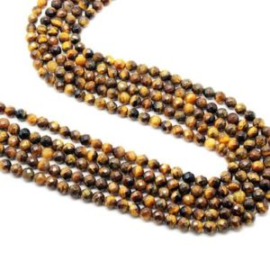 "Shop Tiger Eye Faceted Beads! Small beads,tiger eye beads,3mm beads,gemstone beads,faceted beads,round beads,semiprecious beads,strand beads, AA Quality – 16"" Strand 
