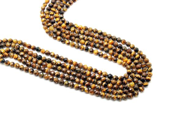 "Small Beads,tiger Eye Beads,3mm Beads,gemstone Beads,faceted Beads,round Beads,semiprecious Beads,strand Beads, Aa Quality - 16"" Strand"