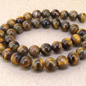 "Shop Tiger Eye Bead Shapes! One Full Strand — Charm AB  Yellow Tiger Eye Stone Gemstone Beads— 10mm —-about 40Pieces—- 15.5"" in length 