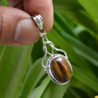 Natural Tiger Eye Pendant, Oxidized Silver Pendant, 925 Silver Pendant, 12×16 Mm Oval Tiger Eye Pendant, Pendant Necklace, Women Pendant | Natural genuine Gemstone jewelry. Buy crystal jewelry, handmade handcrafted artisan jewelry for women.  Unique handmade gift ideas. #jewelry #beadedjewelry #beadedjewelry #gift #shopping #handmadejewelry #fashion #style #product #jewelry #affiliate #ad