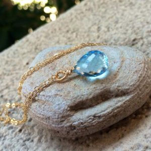 Shop Topaz Pendants! Sky Blue Topaz Stone Pendant Necklace.  December birthday gem. Teardrop. Bridal jewelry | Natural genuine Topaz pendants. Buy handcrafted artisan wedding jewelry.  Unique handmade bridal jewelry gift ideas. #jewelry #beadedpendants #gift #crystaljewelry #shopping #handmadejewelry #wedding #bridal #pendants #affiliate #ad