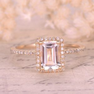 5x7mm Emerald Cut WHITE Topaz Engagement Ring,14K Yellow Gold,Diamond Halo,Topaz Ring,Ball Prongs, Blue Topaz,Emerald,Moissanite Available   Natural genuine Gemstone rings, simple unique alternative gemstone engagement rings. #rings #jewelry #bridal #wedding #jewelryaccessories #engagementrings #weddingideas #affiliate #ad