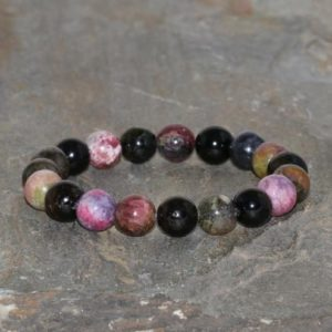 Shop Tourmaline Bracelets! Chunky Multicolour Tourmaline Bracelet 9.5mm Rainbow Tourmaline Grade AA Beaded Gemstone Bracelet Stackable Unisex Gift Bracelet Multi-Color | Natural genuine Tourmaline bracelets. Buy crystal jewelry, handmade handcrafted artisan jewelry for women.  Unique handmade gift ideas. #jewelry #beadedbracelets #beadedjewelry #gift #shopping #handmadejewelry #fashion #style #product #bracelets #affiliate #ad