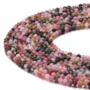 "Multi Color Tourmaline Faceted Round Beads 2mm 3mm 4mm 15.5"" Strand 