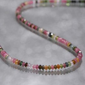 Shop Tourmaline Necklaces! multi tourmaline necklace multi color gemstone beads necklace 3 mm disk shape beads necklace birthday gift for her | Natural genuine Tourmaline necklaces. Buy crystal jewelry, handmade handcrafted artisan jewelry for women.  Unique handmade gift ideas. #jewelry #beadednecklaces #beadedjewelry #gift #shopping #handmadejewelry #fashion #style #product #necklaces #affiliate #ad
