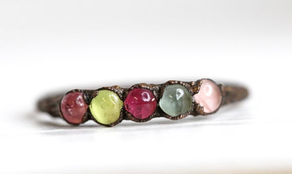 Tourmaline Ring - October Birthstone - Multi Coloured Tourmaline Ring - Libra Ring - Multi Stone Ring - Copper Ring
