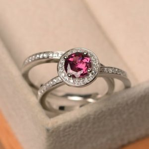 Shop Tourmaline Rings! Red tourmaline ring, silver proposal ring, tourmaline ring with band, round cut halo ring, engagement ring for women | Natural genuine Tourmaline rings, simple unique alternative gemstone engagement rings. #rings #jewelry #bridal #wedding #jewelryaccessories #engagementrings #weddingideas #affiliate #ad