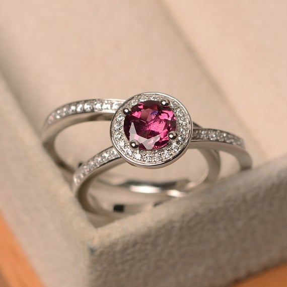 Red Tourmaline Ring, Silver Proposal Ring, Tourmaline Ring With Band, Round Cut Halo Ring, Engagement Ring For Women