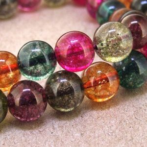 """Shop Tourmaline Round Beads! 10mm 40beads Round Multicolor Tourmaline Color Crystal Quartz Yellow Green Pink Blue Rainbow Color Gemstone Beads 15.5"""" One Full Strand 