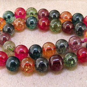 """6mm 8mm 10mm 12mm 14mm Round Multicolor Tourmaline Color Crystal Quartz Yellow Green Pink Blue Rainbow Color Gemstone Beads 15.5"""" 