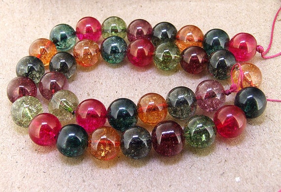 """12mm 35beads Round Multicolor Tourmaline Color Crystal Quartz Yellow Green Pink Blue Rainbow Color Gemstone Beads 15.5"""" One Full Strand"""