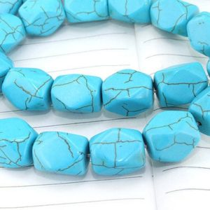 Shop Turquoise Faceted Beads! One Full Strand— Faceted Turquoise Gemstone Beads —-10mmx15mm—-26 Pieces—-16 inch strand | Natural genuine faceted Turquoise beads for beading and jewelry making.  #jewelry #beads #beadedjewelry #diyjewelry #jewelrymaking #beadstore #beading #affiliate #ad