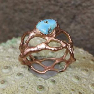 Shop Turquoise Rings! Turquoise cabochon braided wire copper electroformed ring | Natural genuine Turquoise rings, simple unique handcrafted gemstone rings. #rings #jewelry #shopping #gift #handmade #fashion #style #affiliate #ad