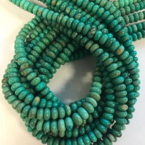"Shop Turquoise Rondelle Beads! 100% natural Turquoise 6-7x3mm rondelle Gemstone Beads -15.5""–1 strand/3 strands 