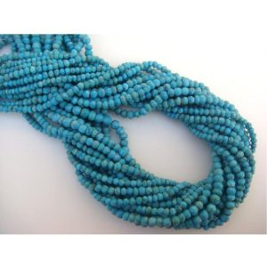 Shop Turquoise Rondelle Beads! 3.5-4mm Turquoise Faceted Rondelle Beads, Blue Gemstone Faceted Bead, 13 Inch Blue Turquoise Faceted Beads For Jewelry (1ST To 5ST Options) | Natural genuine rondelle Turquoise beads for beading and jewelry making.  #jewelry #beads #beadedjewelry #diyjewelry #jewelrymaking #beadstore #beading #affiliate #ad