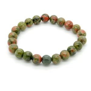 "Shop Unakite Bracelets! Unakite Smooth Round Sphere Natural Gemstone Beads Size 6mm 8mm 10mm Length 7"" ~ 8"" Semi-Precious Gemstone Elastic Cord Bracelet Accessories 