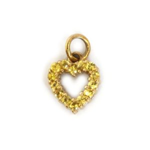 Shop Yellow Sapphire Pendants! 0.3 ctw Natural Yellow Sapphire Pendant / Small Heart Shape Pendant / Solid 14k 18k Gold / Cute Drop Pendant 14 mm / September Birthstone | Natural genuine Yellow Sapphire pendants. Buy crystal jewelry, handmade handcrafted artisan jewelry for women.  Unique handmade gift ideas. #jewelry #beadedpendants #beadedjewelry #gift #shopping #handmadejewelry #fashion #style #product #pendants #affiliate #ad